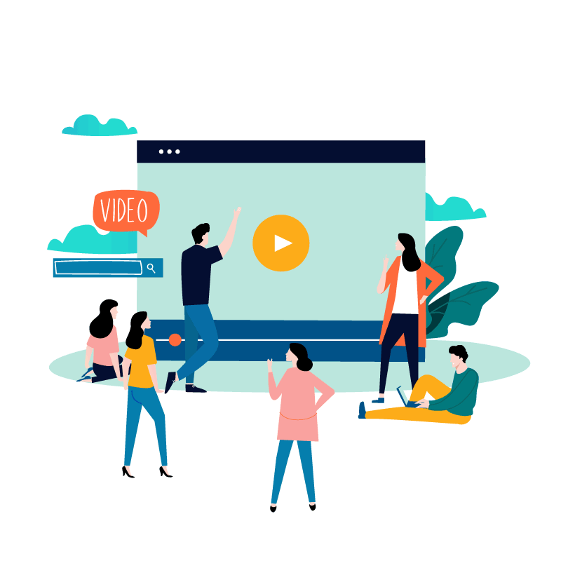 Illustration of people watching video on a big screen