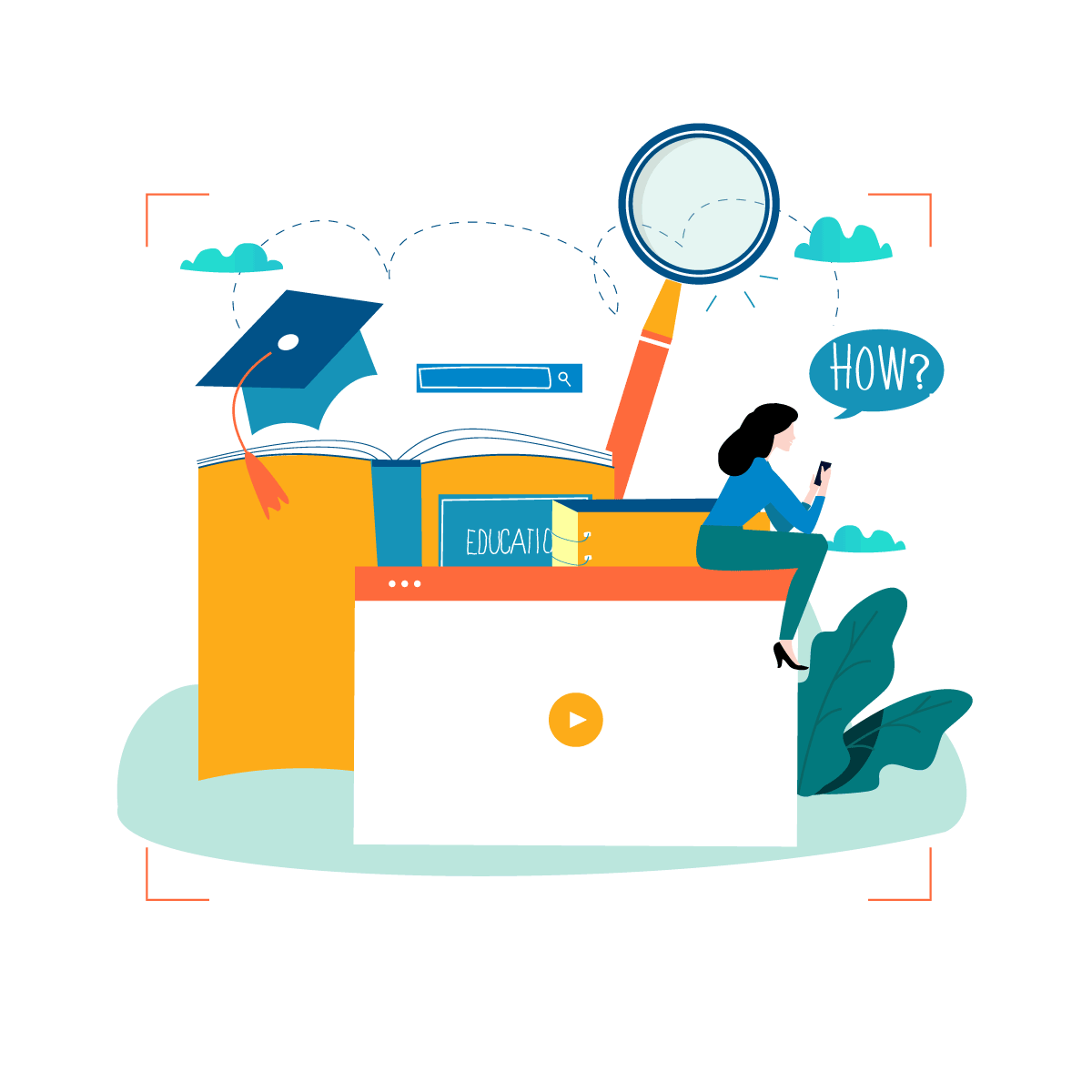 Illustration of a screen and a books in animation style