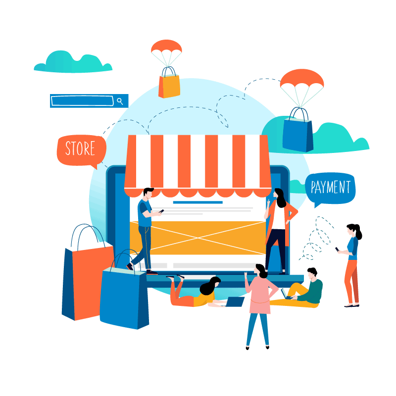 Illustration of a screen, shopping bags and people shopping in animation style
