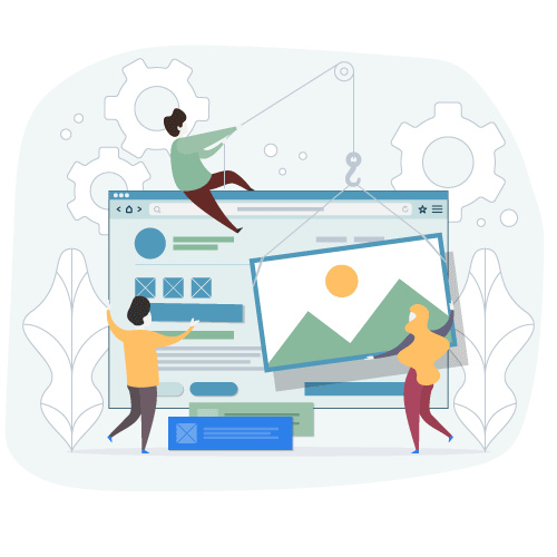 Illustration with people developing a web page