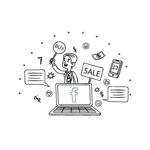 Illustration of a laptop and a salesman